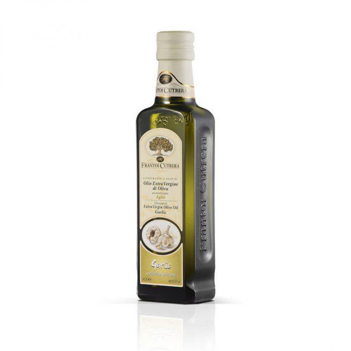 Dầu oliu hữu cơ ép lạnh nguyên chất vị tỏi 250ml - Frantoi