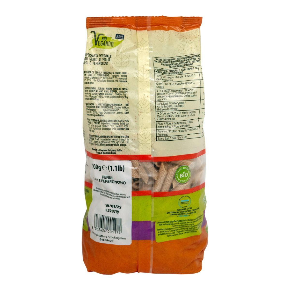 8032454001175 C Nui ống đậu gà nguyên cám hữu cơ Sotto 500g - Bioveg Penne Integr. Ceci e Peperoncino