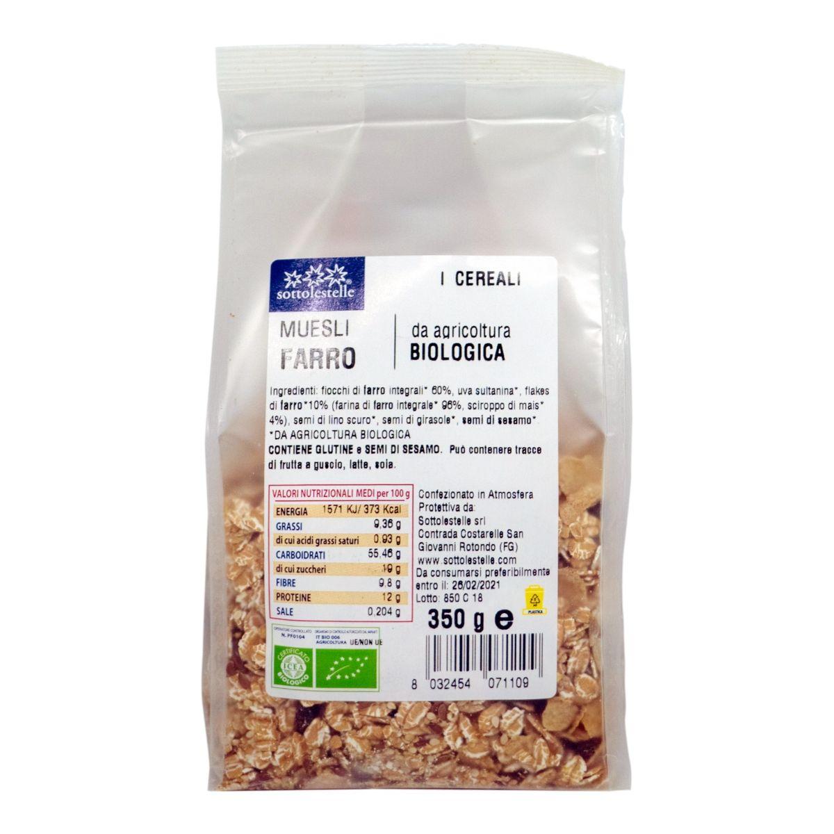 8032454071109 B Ngũ cốc dinh dưỡng Muesli nho khô hữu cơ Sotto 350g - Muesli Farro